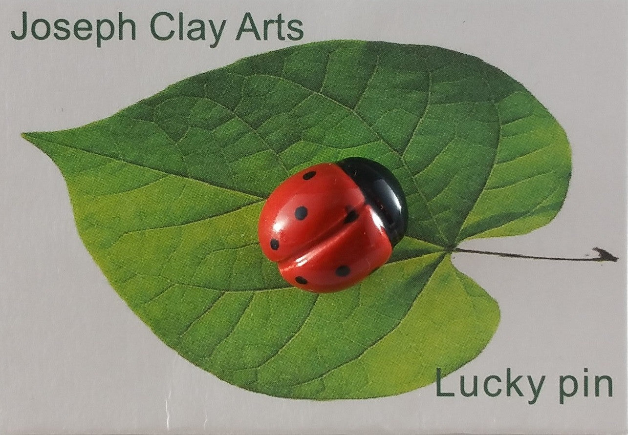 Large handpainted porcelain ladybug pin by Joseph Chiang