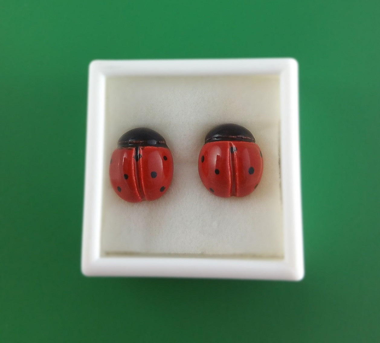 Large porcelain ladybug stud earrings by Joseph Chiang