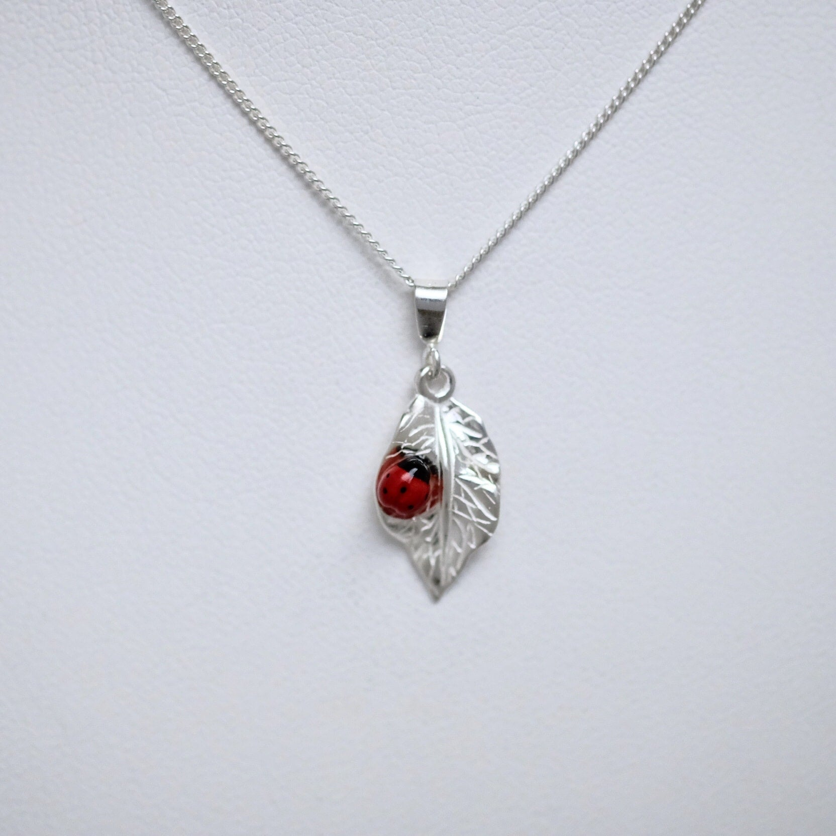 Porcelain ladybug leaf sterling silver necklace by Joseph Chiang