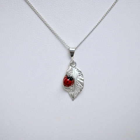 Porcelain Ladybug with Silver Leaf (small pendant) #149A