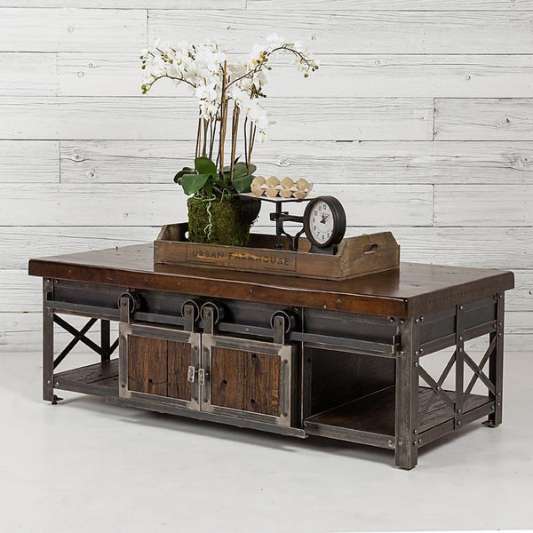 Signature Railcar Dark Walnut Wood Coffee Table with Steel Frame