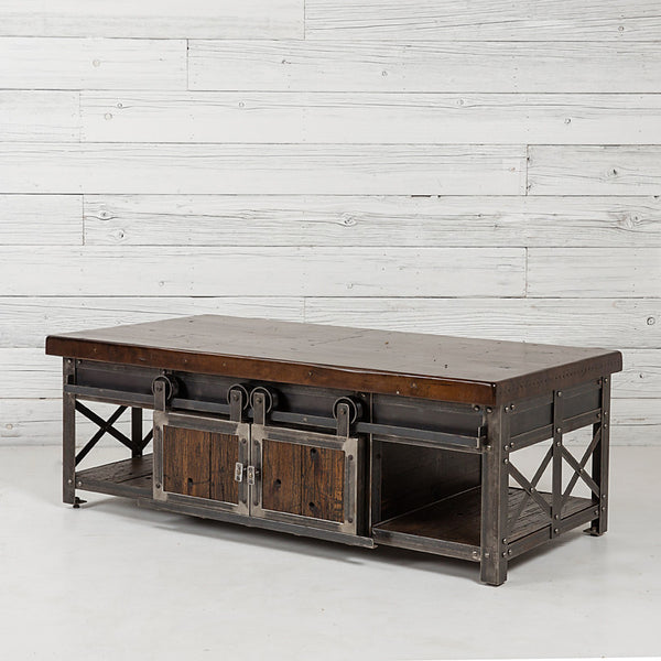 Rolling Barn Door Coffee Table