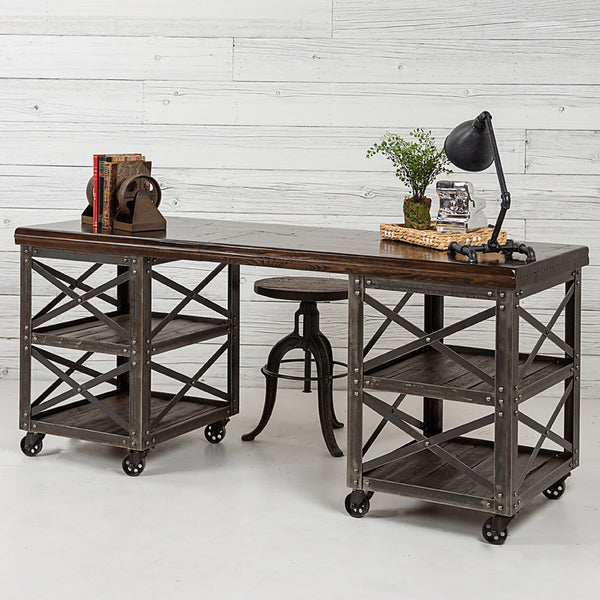 Signature Dark Walnut Metal Rolling Desk with Double Towers