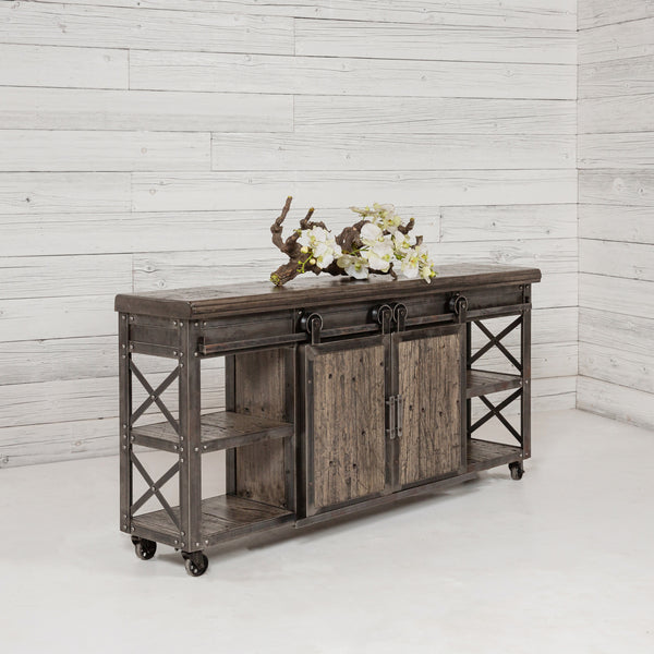 front view of Rolling Barn Door Entertainment Center