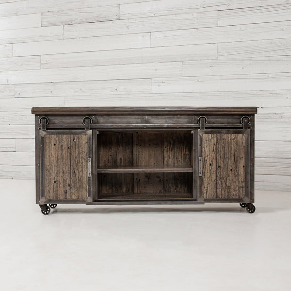 Rolling Barn Door Entertainment Center Urban Farmhouse