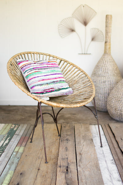 Rush Moon Chair with Rustic Recycled Metal Frame