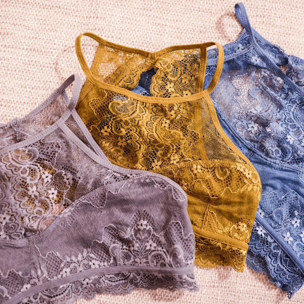 High Neck Open Back Lace Bralette