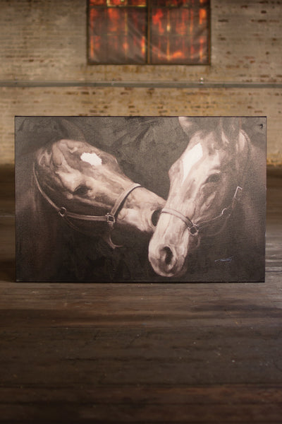 Black & White Kissing Horses - Oil Painting