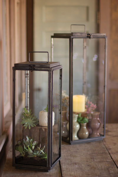 Set Of Two | Tall Rectangle Lanterns