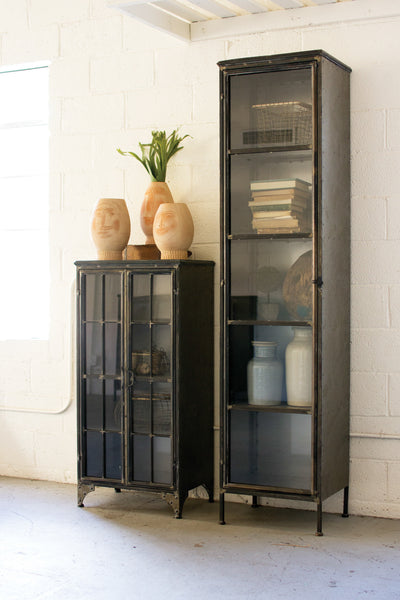 Tall Iton and Glass Apothecary Cabinet