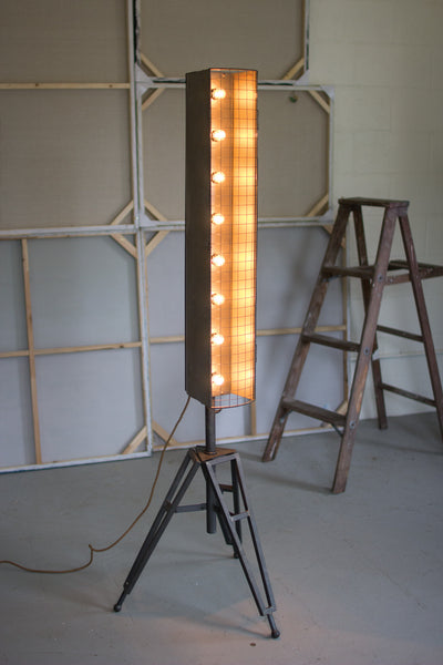 Caged Vertical Marquee Studio Lamp, Raw Finish