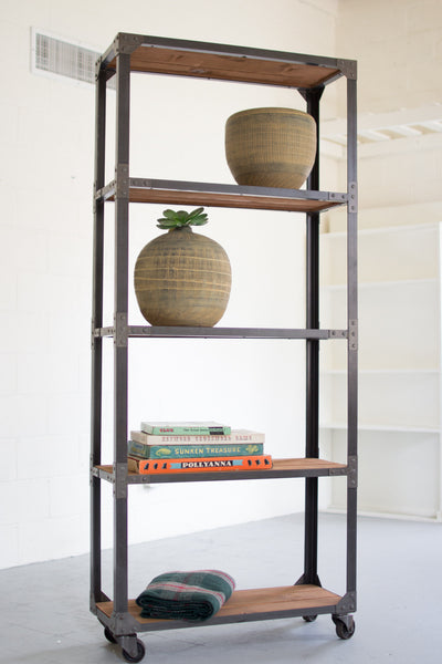 Large Iron & Recycled Wood Shelving Unit