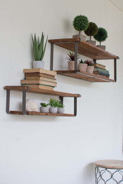 Set of Two, Recycled Wood and Metal Shelves