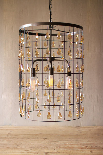 Pendant Light - Large Cylinder with Amber Gems