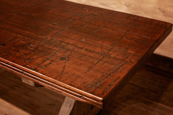 Signature Dark Walnut Farm Table With White Distressed Base