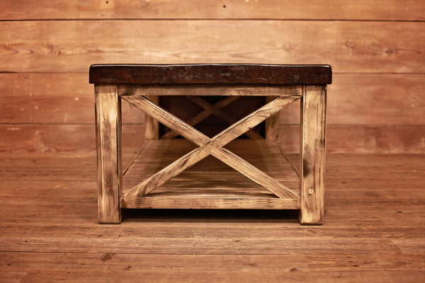Signature Railcar Wood Coffee Table w/ White Base