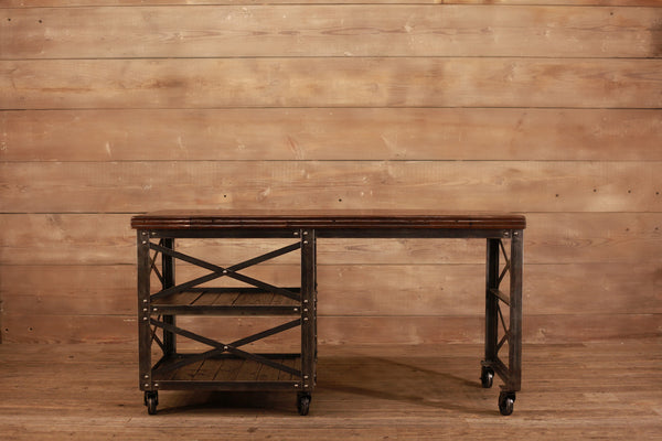Signature Dark Walnut Metal Rolling Desk with Single Tower