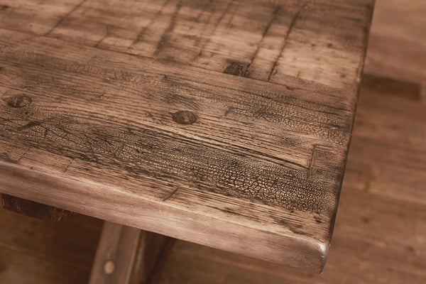 Signature Distressed Grey Farm Table w/ Distressed Base