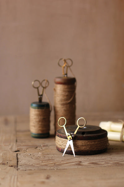 Set Of Three | Wooden Spools With Jute Twine And Scissors
