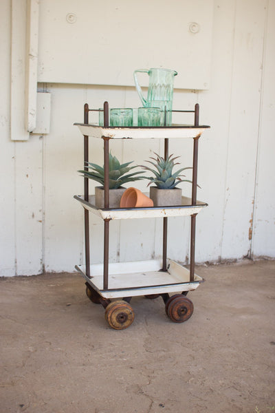 Recycled Enamel Tray Bar Cart With Wooden Casters
