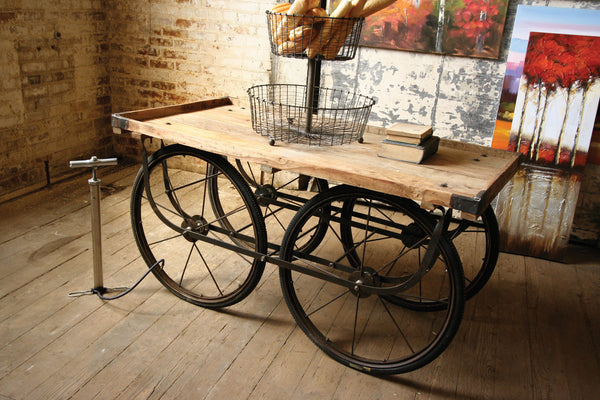 Recycled Wood And Iron Rolling Vendor Cart With Tire Pump