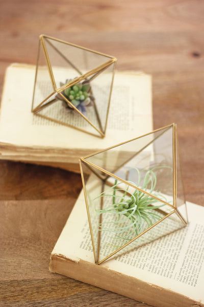 Set Of Two | Glass And Metal Multi-Faceted Terrariums