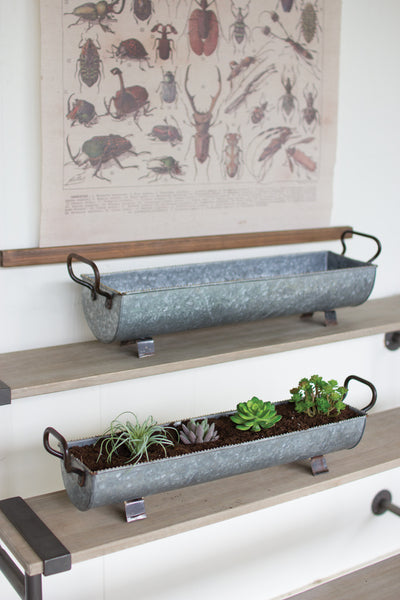 Set Of Two | Oblong Zinc Planters With Brass Detail