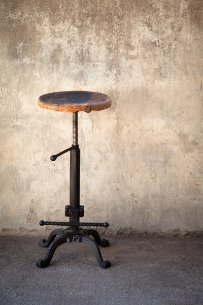 Vintage Bar Stool With Reclaimed Wooden Seat