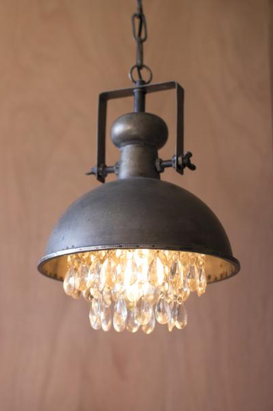 Metal Pendant Lamp With Hanging Crystals