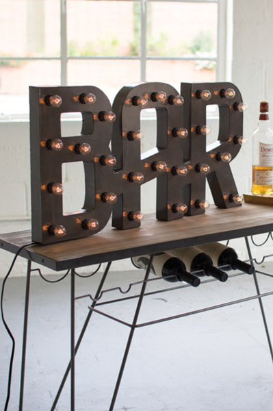 Raw Metal Bar Marquee Light