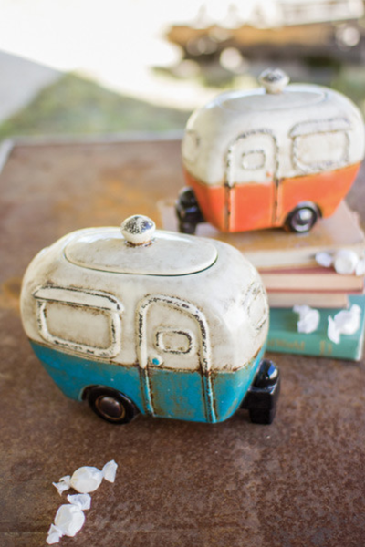 Set of Two Ceramic Camper Canisters