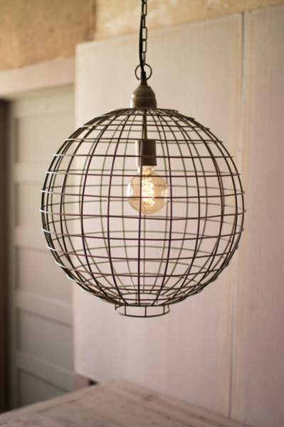 Antique Brass Wire Globe Pendant
