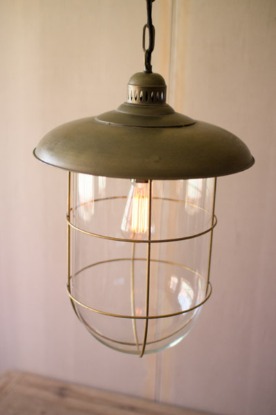 Antique Brass Caged Glass Dome Pendant Urban Farmhouse Designs