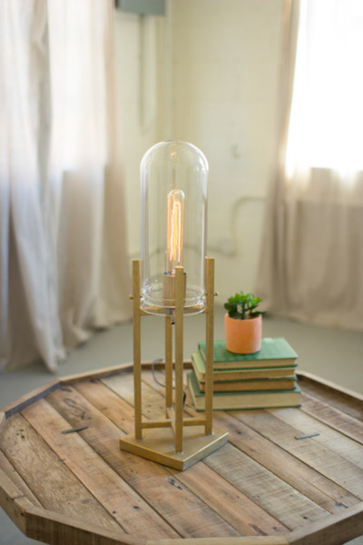 Glass Dome Gold Table Lamps