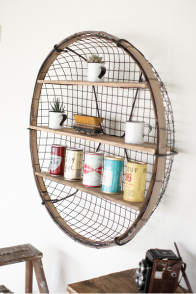 Round Wire Basket Wall Shelf