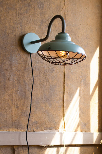 Industrial Blue Wall Sconce with Wire Cage Cover