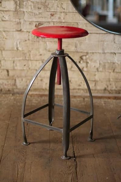 Metal Stool with Adjustable Raw Top & Raw Base