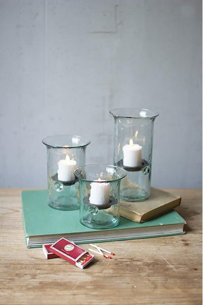 Set of Three | Recycled Glass Votive Cylinders