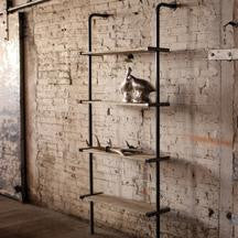 Wood and Metal Wall Shelving Unit
