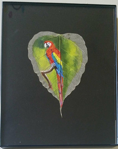 Colorful Parrot – Acrylic on Peepal leaf Painting