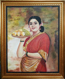 Raja Ravi Varma's Lady with Fruit basket – Oil on Canvas Painting
