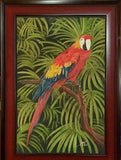 Colorful Parrot in the Wild – Oil on Canvas Painting
