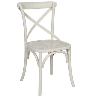 White cane seat dining chair