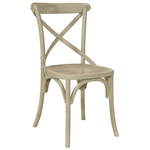 Grey wash cane seated chair