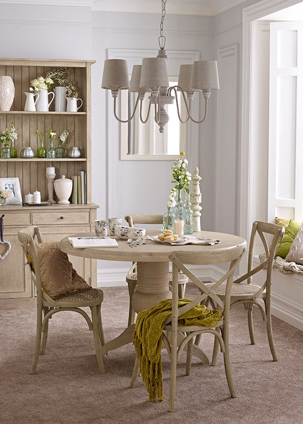 Round Grey Washed Dining Table