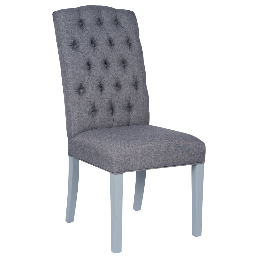 linen  buttoned dining chair