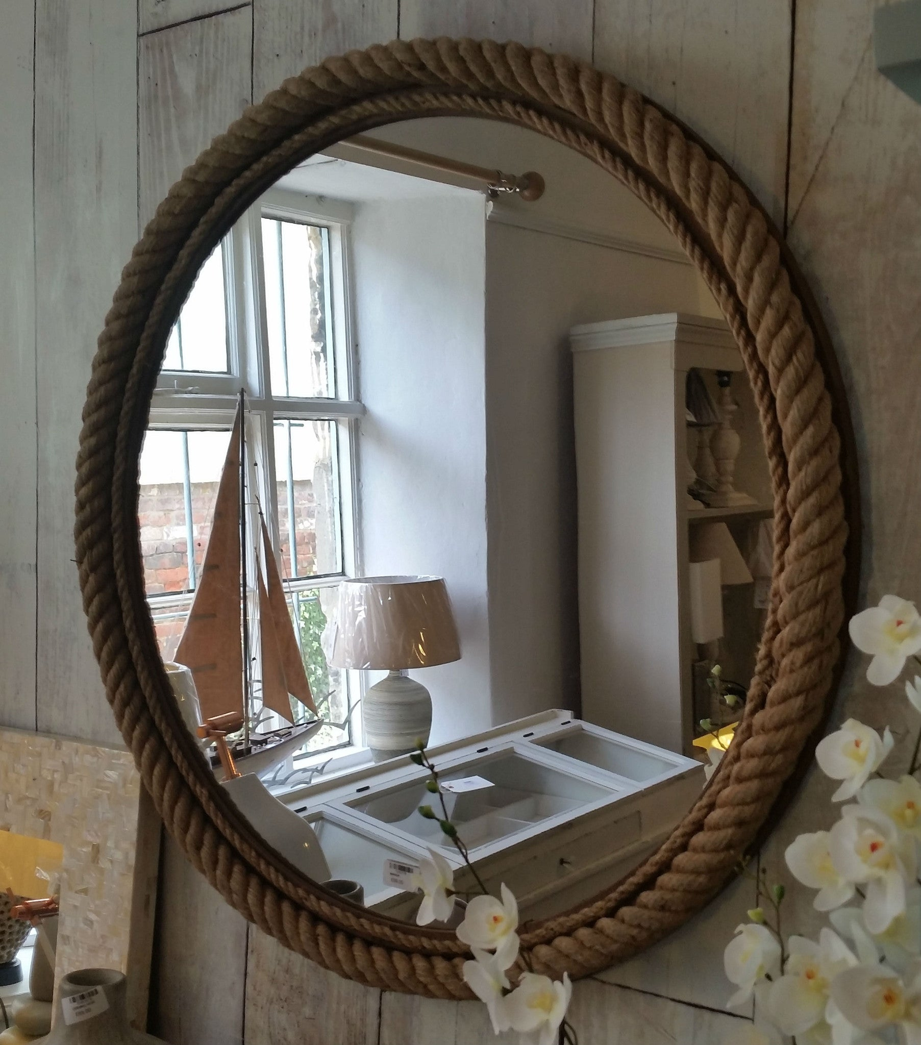 Large Rope  Round Mirror