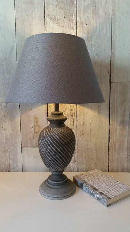 Grey Twist Carved Lamp