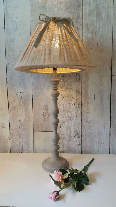 Tall French Lamp with Bow Trimmed Shade