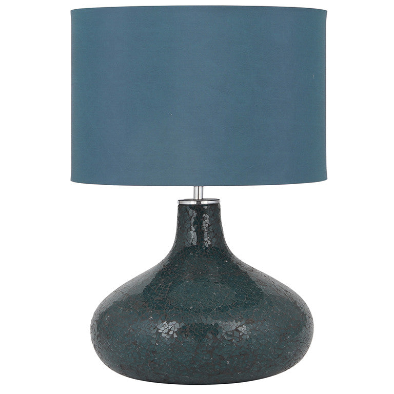 Blue Glass Table Lamp with Blue Shade